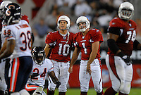 Oct. 16, 2006; Glendale, AZ, USA; Arizona Cardinals kicker Neil Rackers (1) and punter (10) Scott Player react to a missed field goal against the Chicago Bears at University of Phoenix Stadium in Glendale, AZ. Mandatory Credit: Mark J. Rebilas