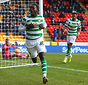 3rd February 2019, McDiarmid Park, Perth, Scotland; Ladbrokes Premiership football, St Johnston versus Celtic;  Timothy Weah of Celtic celebrates after he makes it 2-0 to Celtic in the 89th minute