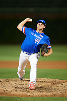 Chandler Champlain (44) of Santa Margarita Catholic High School in Coto de Caza, California delivers a pitch during the Under Armour All-American Game presented by Baseball Factory on July 29, 2017 at Wrigley Field in Chicago, Illinois.  (Mike Janes/Four Seam Images)