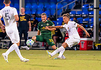 13th July 2020, Orlando, Florida, USA;  Portland Timbers midfielder Sebastian Blanco (10) blocks a pass from Los Angeles Galaxy defender Daniel Steres (5) during the MLS Is Back Tournament between the LA Galaxy versus Portland Timbers on July 13, 2020 at the ESPN Wide World of Sports, Orlando FL.