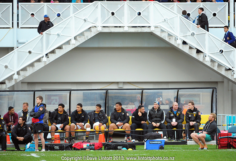 The Wellington bench watches the rugby union match between the Wellington XV and Canterbury at Hutt Recreation Ground, Wellington, New Zealand on Friday, 9 August 2013. Photo: Dave Lintott / lintottphoto.co.nz