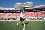 Wisconsin Badgers quarterback Alex Hornibrook (12) throws a pass during warmups prior to an NCAA College Football game against the Florida Atlantic Owls Saturday, September 9, 2017, in Madison, Wis. The Badgers won 31-14. (Photo by David Stluka)
