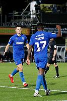 GOAL - Callum Reilly of AFC Wimbledon acknowledges the assist from Michael Folivi during the The Leasing.com Trophy match between AFC Wimbledon and Leyton Orient at the Cherry Red Records Stadium, Kingston, England on 8 October 2019. Photo by Carlton Myrie / PRiME Media Images.
