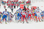 HOLMENKOLLEN, OSLO, NORWAY - March 17: (49 Anne Kylloenen of Finland (FIN), (16) Aino-Kaisa Saarinen of Finland (FIN), (2) Therese Johaug of Norway (NOR), (23) Martine Ek Hagen of Norway (NOR), (8) Charlotte Kalla of Sweden (SWE) during the Ladies 30 km mass start race, free technique, at the FIS Cross Country World Cup on March 17, 2013 in Oslo, Norway. (Photo by Dirk Markgraf).