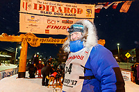 Geir Idar Hjelvik at the finish line in Nome arriving in 45th place during the 2017 Iditarod on Friday March 17, 2017.<br /> <br /> Photo by Jeff Schultz/SchultzPhoto.com  (C) 2017  ALL RIGHTS RESERVED