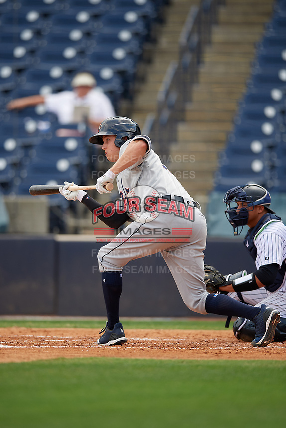 Lakeland Flying Tigers A.J. Simcox (12) squares to bunt during a Florida State League game against the Tampa Tarpons on April 7, 2019 at George M. Steinbrenner Field in Tampa, Florida.  Tampa defeated Lakeland 3-2.  (Mike Janes/Four Seam Images)