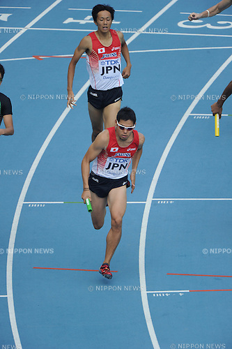 (T-B) Kei Takase, ..Yuzo Kanemaru (JPN), ..SEPTEMBER 1, 2011 - Athletics : The 13th IAAF World Championships in Athletics - Daegu 2011, Men's 4x400m Relay Round 1 at the Daegu Stadium in Daegu, South Korea. (Photo by Takashi Okui/AFLO)