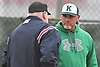 James Bailin, Bellmore JFK varsity baseball head coach, discusses a call made by the home plate umpire during a non-league game against Freeport at Cleveland Avenue Field in Freeport on Friday, March 24, 2017. Freeport won by a score of 9-6.