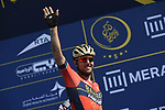 Sonny Colbrelli (ITA) Bahrain-Merida at sign on before the start of Stage 5 The Meraas Stage final stage of the Dubai Tour 2018 the Dubai Tour&rsquo;s 5th edition, running 132km from Skydive Dubai to City Walk, Dubai, United Arab Emirates. 10th February 2018.<br /> Picture: LaPresse/Fabio Ferrari | Cyclefile<br /> <br /> <br /> All photos usage must carry mandatory copyright credit (&copy; Cyclefile | LaPresse/Fabio Ferrari)