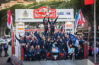 26th January 2020, Monaco, Monte Carlo;  NEUVILLE Thierry (BEL), GILSOUL Nicolas (BEL), Hyundai i20 Coupe WRC, Hyundai Shell Mobis WRT on the winners podium during the 2020 WRC World Rally Car Championship, Monte Carlo rally