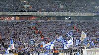 FUSSBALL   CHAMPIONS LEAGUE   SAISON 2012/2013   GRUPPENPHASE   FC Schalke 04 - Montpellier HSC                                   03.10.2012 Fans vom FC Schalke 04 mit einen Banner mit der Aufschrift: MENSCHENWUERDE ABGEBEN - WILLKOMMEN AUF SCHALKE