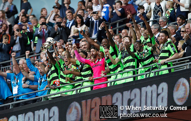 Tranmere Rovers 1 Forest Green Rovers 3, 14/05/2017. Wembley Stadium, Conference play off Final. Forest Green players with the trophy on the Royal box at Wembley Stadium after the Vanarama Conference play off Final  between Tranmere Rovers v Forest Green Rovers at the Wembley. Photo by Paul Thompson.