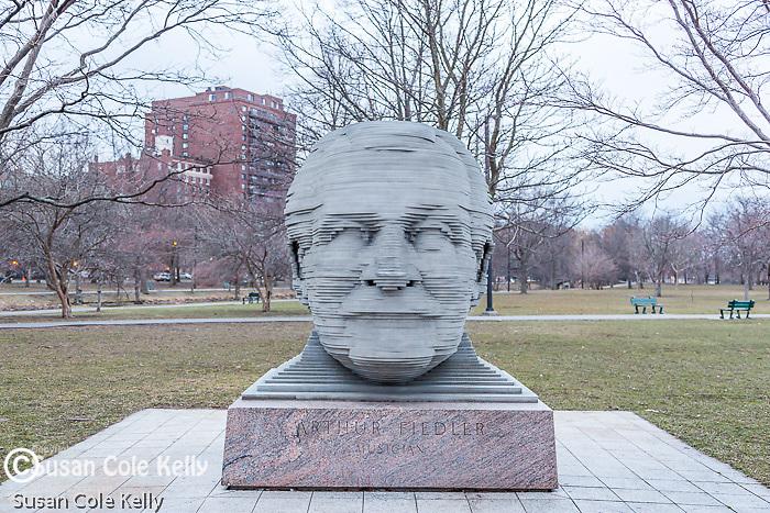 Arthur Fiedler statue on the Charles River Esplanade, Boston, Massachusetts, USA
