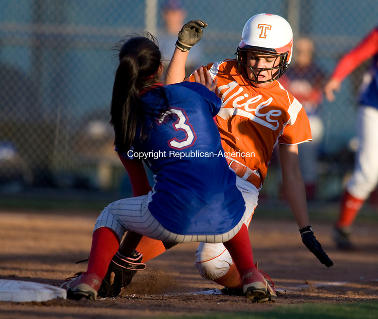 WEST HAVEN, CT - 08 JUNE 2010 -060810JT09-<br /> Terryville's Devan Embleton is out as she slides back to third by Coginchaug's Taylor Delvecchio during Tuesday's Class S semifinal game at West Haven. Terryville won, 2-0.<br /> Josalee Thrift Republican-American