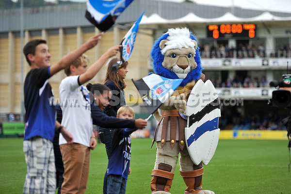A view of Maximus the Bath Rugby mascot prior to the match. Aviva Premiership match, between Bath Rugby and Leicester Tigers on September 14, 2013 at the Recreation Ground in Bath, England. Photo by: Patrick Khachfe / Onside Images