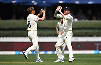 30th November 2019, Hamilton, New Zealand;  England's Sam Curran celebrates the wicket of Nicholls with Ben Stokes during play on day 2 of 2nd test match between New Zealand and England,  International Cricket at Seddon Park, Hamilton, New Zealand.  - Editorial Use