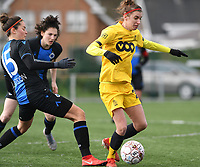 20200329 – BRUGGE, BELGIUM : Club Brugge's Charlotte Laridon pictured with Standard's Justine Blave (22) during a women soccer game between Dames Club Brugge and Standard Femina de Liege on the 17 th matchday of the Belgian Superleague season 2019-2020 , the Belgian women's football  top division , saturday 29 th February 2020 at the Jan Breydelstadium – terrain 4  in Brugge  , Belgium  .  PHOTO SPORTPIX.BE | DAVID CATRY