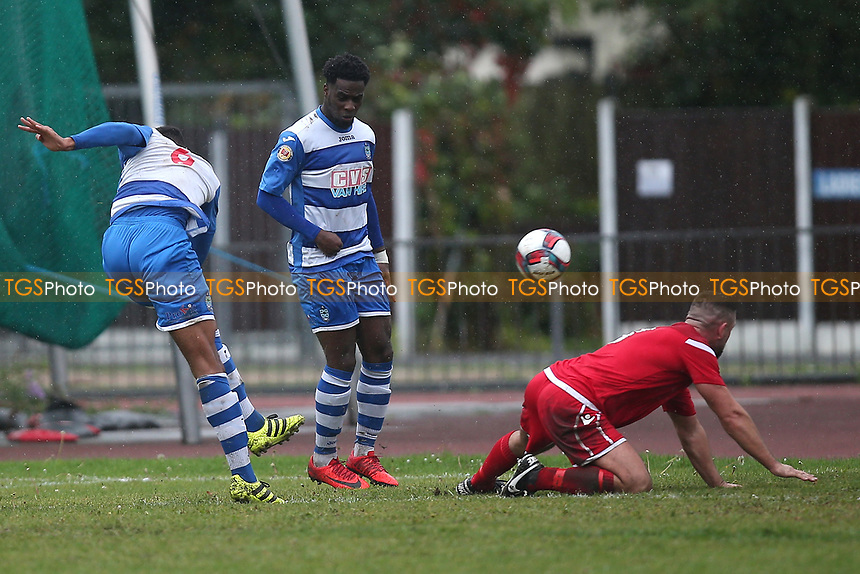 Jamall Doztsi of Ilford hits the crossbar during Ilford vs Walthamstow, Essex Senior League Football at Cricklefields Stadium on 6th October 2018