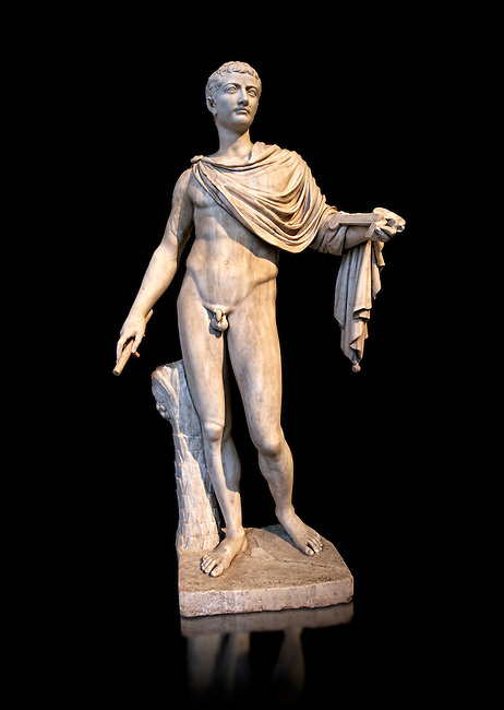 Roman marble sculpture of a male figure restored as Augustus 2nd century AD, inv no 6053, Naples Museum of Archaeology, Italy