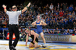 BROOKINGS, SD - DECEMBER 2:   Nate Rotert from SDSU celebrates his win over Cash Wilcke from Iowa in their 197 pound match Friday night at Frost Arena in Brookings, SD.(Photo by Dave Eggen/Inertia)