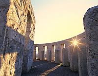 Inside Stonehenge with sunburst. Washington