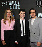 """Carrie Cracknell, Tom Sturridge and Jake Gyllenhaal attend the Broadway Opening Night performance of """"Sea Wall / A Life"""" at the Hudson Theatre on August 08, 2019 in New York City."""