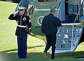 United States President Barack Obama salutes the Marine Guard as he boards Marine One to depart the White House in Washington, DC en route to Joint Base Andrews in Maryland from where he will fly to Turkey for the G20 Summit on Saturday, November 14, 2015.<br /> Credit: Ron Sachs / Pool via CNP