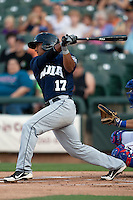 New Orleans Zephyrs shortstop Donovan Solano #17 swings during the Pacific Coast League baseball game against the Round Rock Express on April 30, 2012 at The Dell Diamond in Round Rock, Texas. The Zephyrs defeated the Express 5-3. (Andrew Woolley / Four Seam Images)