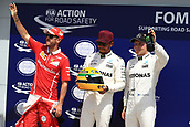 June 10th 2017, Circuit Gilles Villeneuve, Montreal Quebec, Canada; Formula One Grand Prix, Qualifying sessions; Lewis Hamilton - Mercedes AMG Petronas F1 W08 takes pole and is presented with a hisoric Senna helmet by his family followed by Sebastian Vettel - Scuderia Ferrari SF70H followed by Valtteri Bottas.