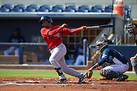 GCL Red Sox third baseman Roldani Baldwin (7) at bat in front of catcher Rafelin Lorenzo (8) during the first game of a doubleheader against the GCL Rays on August 4, 2015 at Charlotte Sports Park in Port Charlotte, Florida.  GCL Red Sox defeated the GCL Rays 10-2.  (Mike Janes/Four Seam Images)