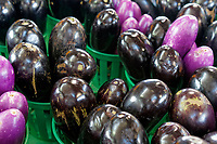 Eggplants or aubergines for sale at the Jean Talon public market or Marche Jean Talon, Montreal, Quebec, Canada
