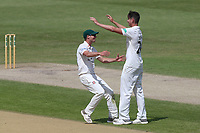 Josh Tongue of Worcestershire (R) celebrates taking the wicket of Simon Harmer during Worcestershire CCC vs Essex CCC, Specsavers County Championship Division 1 Cricket at New Road on 13th May 2018