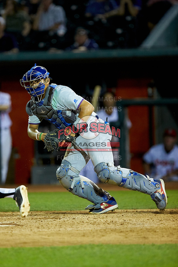 South Bend Cubs catcher Miguel Amaya (9) on defense against the Lansing Lugnuts at Cooley Law School Stadium on June 15, 2018 in Lansing, Michigan. The Lugnuts defeated the Cubs 6-4.  (Brian Westerholt/Four Seam Images)