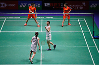 13th March 2020, Arena Birmingham, Birmingham, UK;  Japans Misaki Matsutomo and Ayaka Takahashi celebrate winning a point during for womens doubles quarterfinal match with Chinas Chen Qingchen and Jia Yifan at All England Badminton 2020 in Birmingham