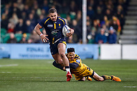 25th January 2020; Sixways Stadium, Worcester, Worcestershire, England; Premiership Rugby, Worcester Warriors versus Wasps; Ollie Lawrence of Worcester Warriors breaks the tackle