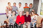 Ena Mc Niece from St Brendan's Park Tralee enjoying her 80th birthday with friends and family on Sunday.Front l-r Joe Mc Niece, KatieMc Niece, Ena Mc Niece, George Mc Niece, Cora Mc Nieceand Tadgh Mc Niece.Back l-r Amanda Bellier, Jim Mc Niece, Brendan Mc Niece, Tom Mc Niece and Martina Mc Niece.