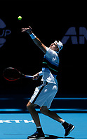 3rd January 2020; RAC Arena, Perth, Western Australia; ATP Cup Australia, Perth, Day 1,; USA v Norway John Isner of the USA serves during his match against Christian Ruud Captain of Norway - Editorial Use