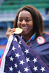Simone Manuel (USA), <br /> AUGUST 11, 2016 - Swimming : <br /> Women's 100m Freestyle Medal Ceremony  <br /> at Olympic Aquatics Stadium <br /> during the Rio 2016 Olympic Games in Rio de Janeiro, Brazil. <br /> (Photo by Yohei Osada/AFLO SPORT)