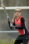 GER - Mainz, Germany, March 20: During the 1. Bundesliga Damen lacrosse match between Mainz Musketeers (white) and SC Frankfurt 1880 (red) on March 20, 2016 at Sportgelaende Dalheimer Weg in Mainz, Germany. Final score 7-12 (HT 3-5). (Photo by Dirk Markgraf / www.265-images.com) *** Local caption *** Laura Tueroff #36 of SC Frankfurt 1880
