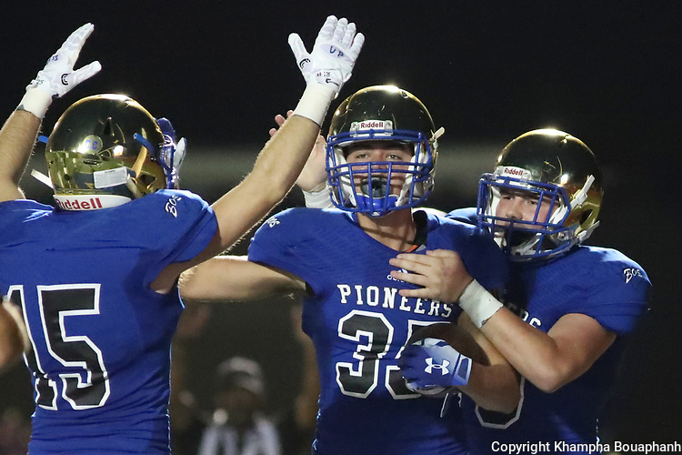 Boswell's Luke Moniak is congratulated after recovering a block punt in the endzone for a touchdown later in the second quarter during their 73-7 win over Chisholm Trail 73-7 in 3-5A high school football on Thursday, September 20, 2018. (Photo by Khampha Bouaphanh)