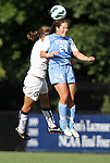 07 September 2012: UNC's Paige Nielsen (24) and Marquete's Ally Miller (3). The University of North Carolina Tar Heels defeated the Marquette University Golden Eagles 4-0 at Koskinen Stadium in Durham, North Carolina in a 2012 NCAA Division I Women's Soccer game.