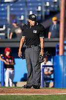 Umpire David Martines looks to the dugout during a game between the Mahoning Valley Scrappers and Batavia Muckdogs on June 23, 2015 at Dwyer Stadium in Batavia, New York.  Mahoning Valley defeated Batavia 11-2.  (Mike Janes/Four Seam Images)