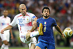 09 July 2006: Zinedine Zidane (FRA) (10) plays the ball around the challenge of Gennaro Gattuso (ITA) (8). Italy tied France 1-1 in overtime at the Olympiastadion in Berlin, Germany in match 64, the championship game, of the 2006 FIFA World Cup Finals. Italy won the World Cup by defeating France 5-3 on penalty kicks.