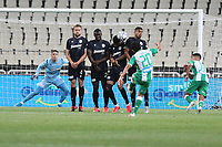 13th June 2020; Athens, Greece; Greek Super League football playoff, PanathinaikAthen versus PAOK Thessaloniki Panathinaikos; Yassin Ayoub of Athen takes a direct free kick over the defensive wall