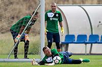 Getafe CF's Filip Manojlovic, Sergio Valero and  Vicente Guaita during training session. August 1,2017.(ALTERPHOTOS/Acero) /NortePhoto.com