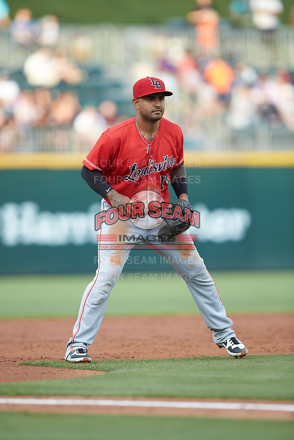 Louisville Bats third baseman Christian Colon (14) on defense against the Charlotte Hornets at BB&T BallPark on June 22, 2019 in Charlotte, North Carolina. The Hornets defeated the Bats 7-6. (Brian Westerholt/Four Seam Images)