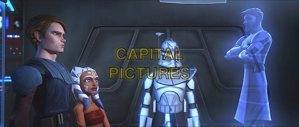ANAKIN SKYWALKER (Matt Lanter), AHSOKA TANO (Ashley Eckstein), CLONE TROOPER & OBI-WAN KENOBI (James Arnold Taylor).in Star Wars: The Clone Wars.*Filmstill - Editorial Use Only*.CAP/FB.Supplied by Capital Pictures.