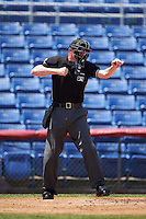 Umpire Ryan Wills strike three call during a game between the Richmond Flying Squirrels and Binghamton Mets on June 26, 2016 at NYSEG Stadium in Binghamton, New York.  Binghamton defeated Richmond 7-2.  (Mike Janes/Four Seam Images)