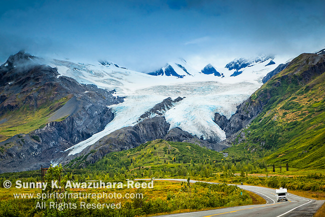 Worthington Glacier with RV on Richardson Hwy. Valdez, Southcentral Alaska, Autumn.