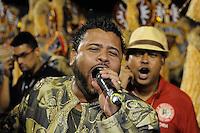 SAO PAULO, SP, 25 DE FEVEREIRO 2012 - DESFILE DAS CAMPEÃS DO CARNAVAL SP - MOCIDADE ALEGRE: Bruno Ribas, intérprete da Unidos da Tijuca, Campeã do Carnaval do RJ participou da apresentação da escola de samba Mocidade Alegre no desfile das Campeãs do Carnaval 2012 de São Paulo, no Sambódromo do Anhembi, na zona norte da cidade, neste sábado.(FOTO: LEVI BIANCO - BRAZIL PHOTO PRESS).